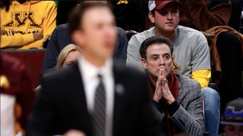 Former Louisville coach Rick Pitino watches his son, Richard, on the sidelines. (Associated Press photo)