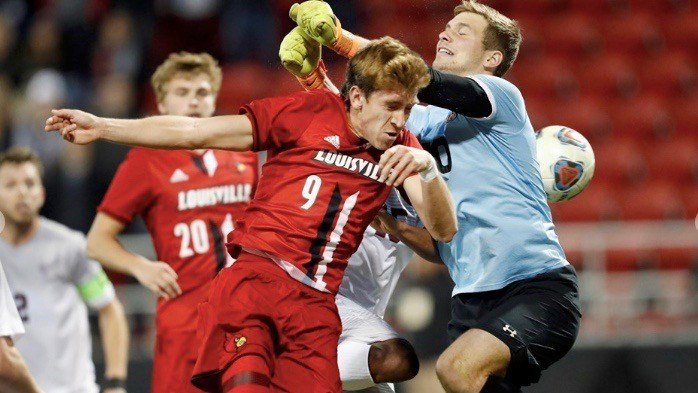 Louisville junior Tate Schmitt makes a run at a header in Sunday's NCAA Tournament win over Colgate. (GoCards.com photo by Jeff Reinking)