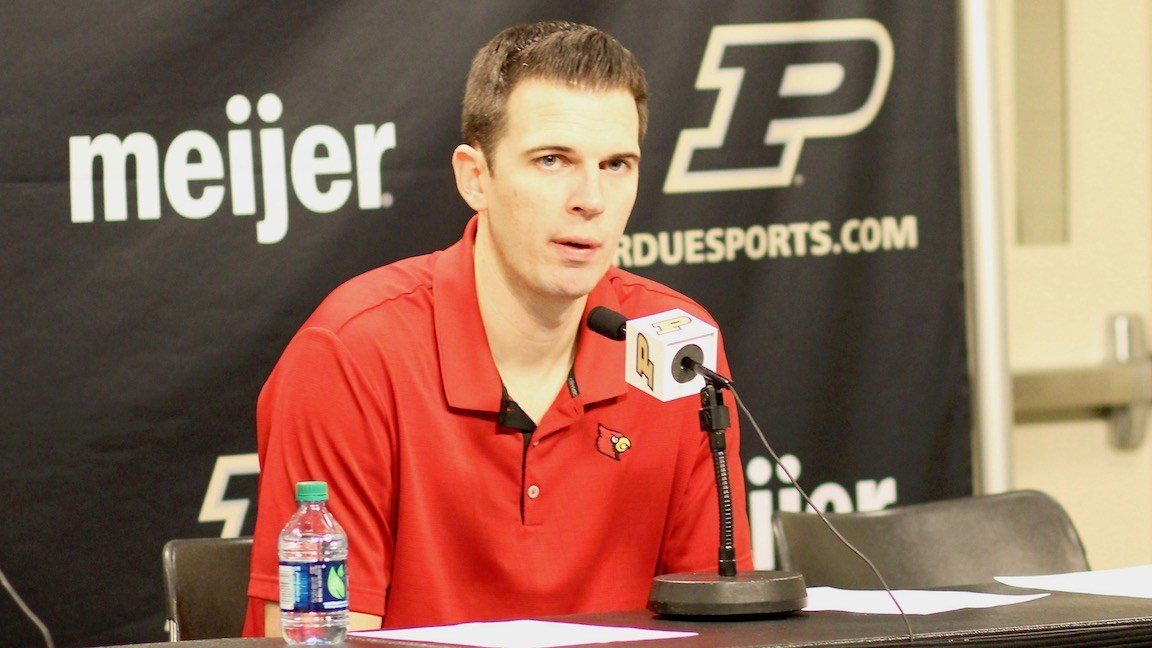 Louisville coach David Padgett after a loss at Purdue. (WDRB photo by Eric Crawford)
