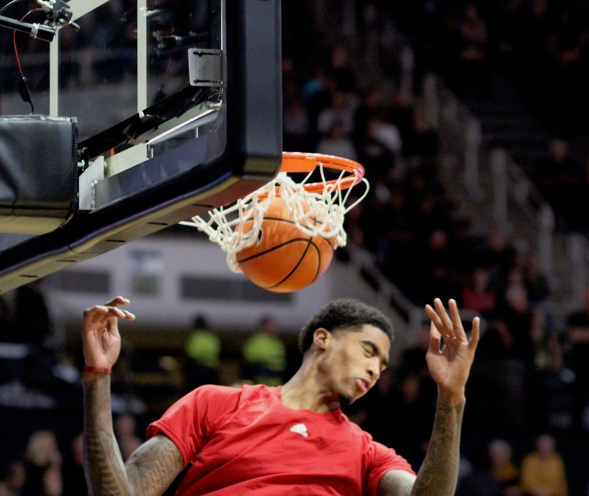 Ray Spalding finished a pregame dunk, but struggled to 3-10 shooting once play began. (WDRB photo by Eric Crawford)