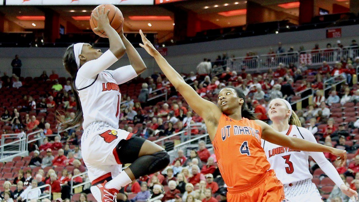 Freshman Dana Evans drives the lane in the second half of Tuesday's win. (WDRB photo by Eric Crawford)