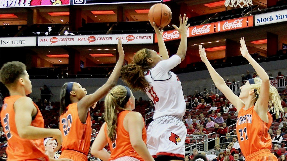 Sophomore Bionca Dunahm goes up over the whole Tennessee Martin team during Tuesday's win. (WDRB photo by Eric Crawford)