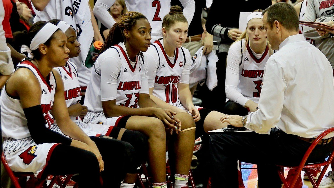 Louisville coach Jeff Walz talks to his team during a timeout on Tuesday. (WDRB photo by Eric Crawford)