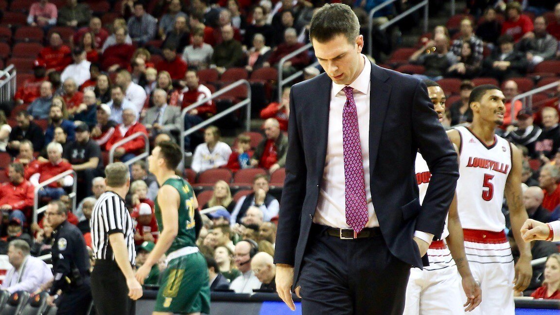 Louisville coach David Padgett had reason to be alarmed by his team's struggle against Siena Wednesday. (Eric Crawford photo)