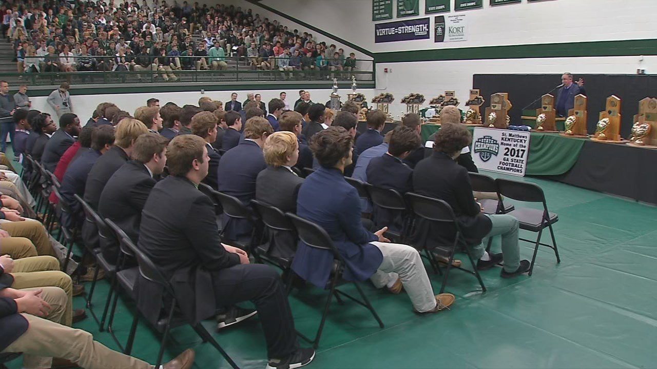 Students and city leaders attend a rally celebrating Trinity High School's 25th championship on Dec. 7, 2017.