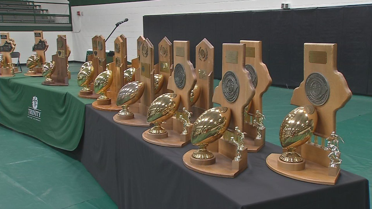 A display of state championship trophies won by Trinity over the years.