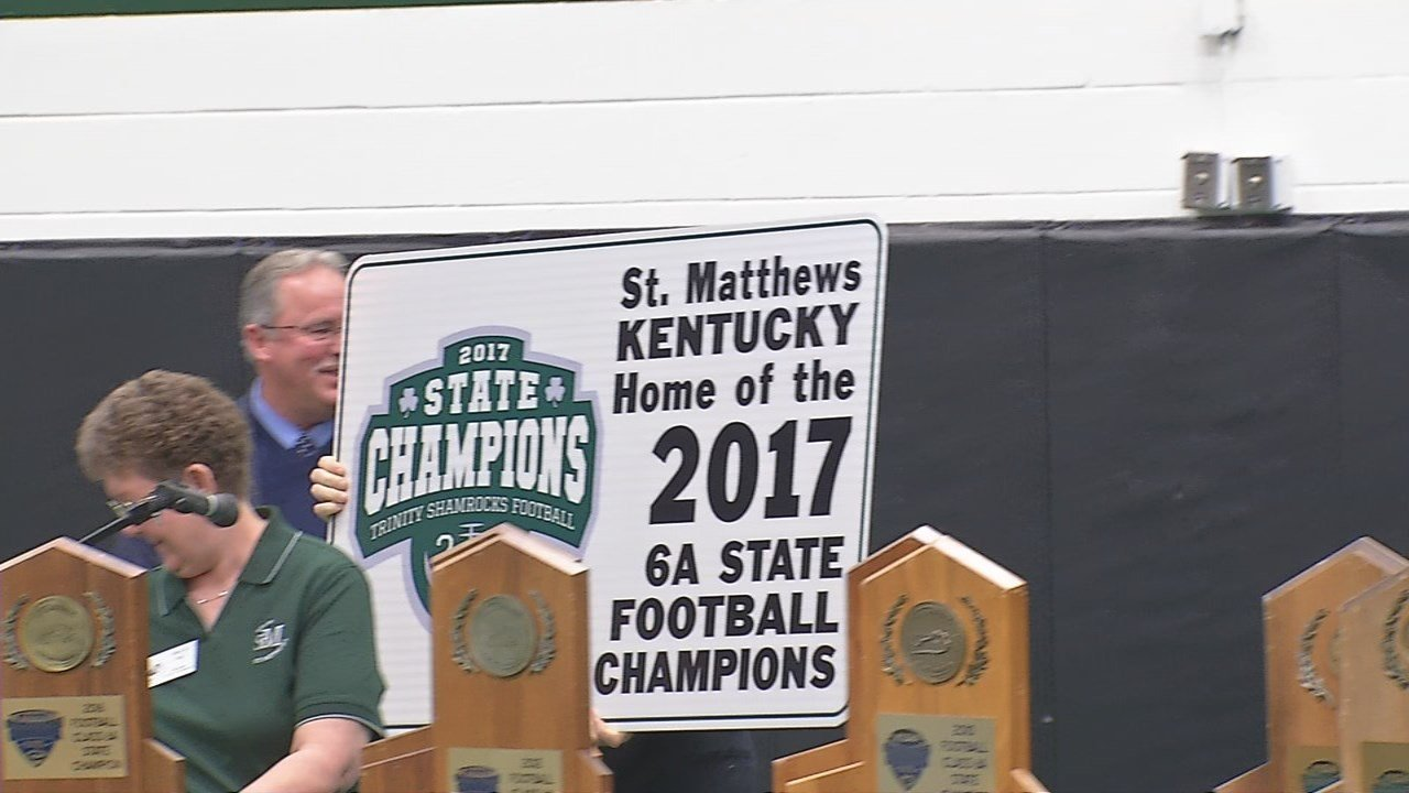 This sign will be posted in St. Matthews in recognition of Trinity High School's 25th state championship title