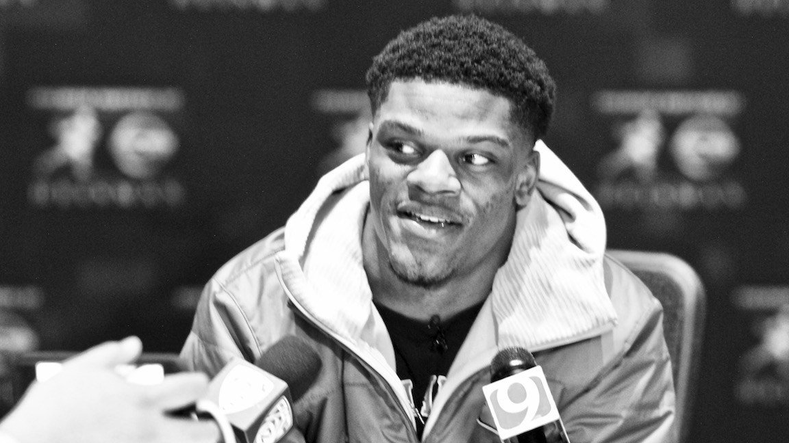 Lamar Jackson at Friday's news conference. (WDRB photo by Eric Crawford)