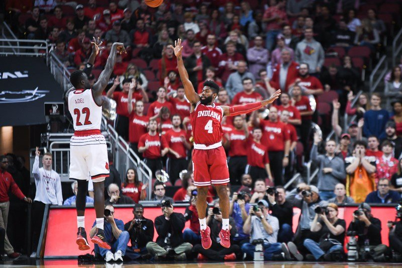 Deng Adel scored 16 points to lift Louisville past Indiana. (Jamie Owens photo.)