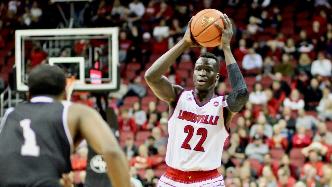 Deng Adel shared scoring honors against Bryant with 17 points in Monday's win. (WDRB photo by Eric Crawford)