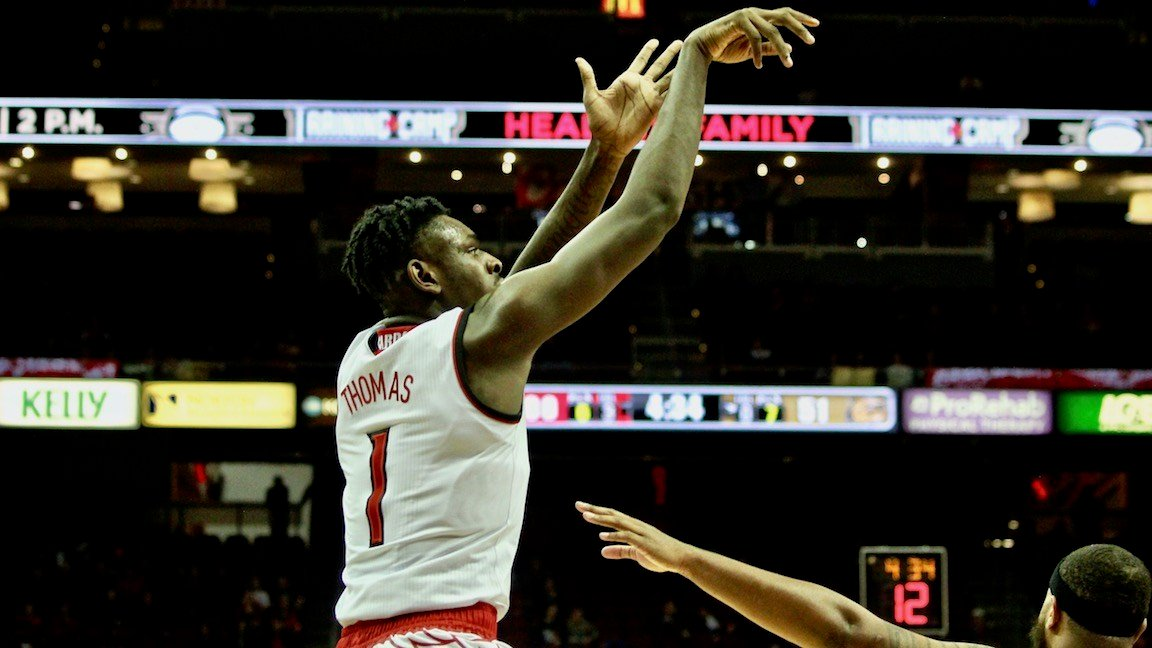 Louisville freshman Lance Thomas had four points and six rebounds in Monday's win over Bryant. (WDRB photo by Eric Crawford)