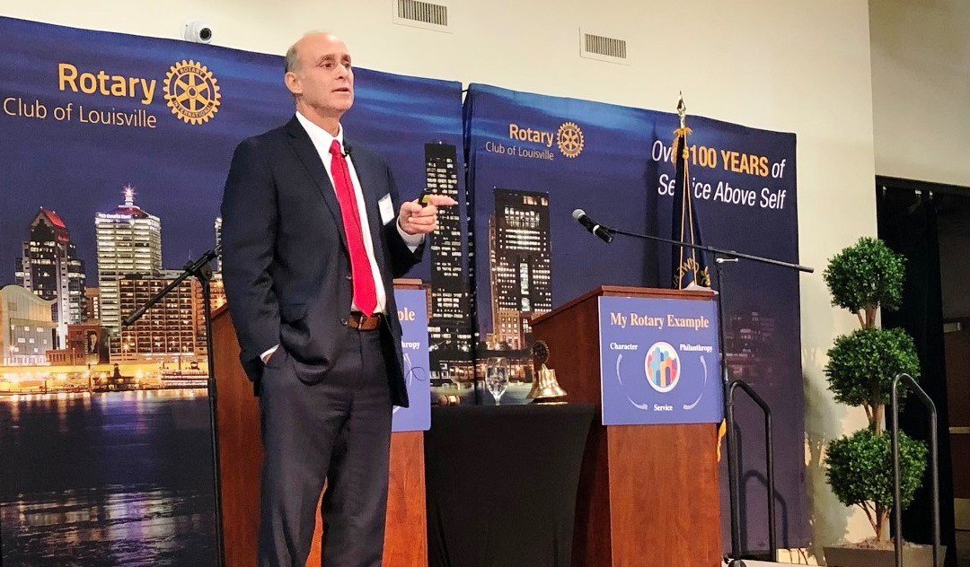 Keith Sherman, interim executive director of the University of Louisville Foundation, spoke to the Rotary Club of Louisville on Oct. 5, 2017.
