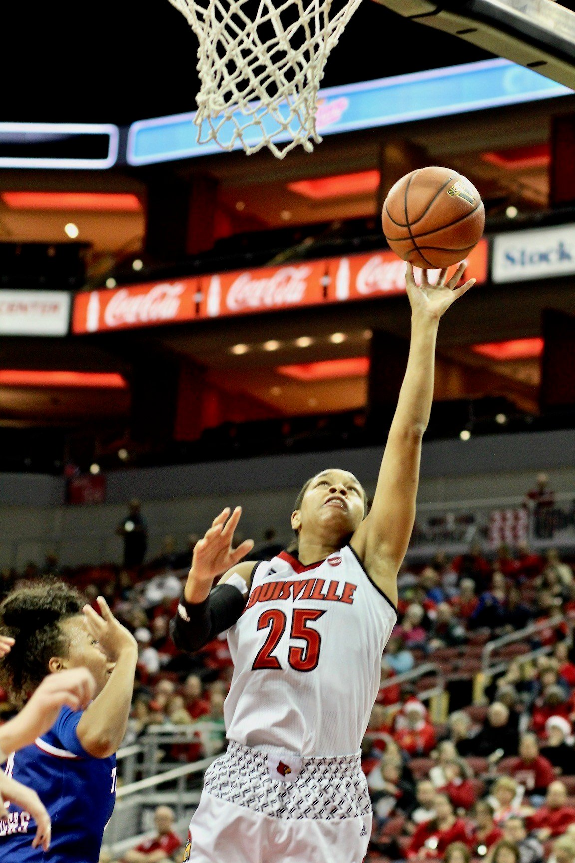Asia Durr goes up for two of her 12 points. (WDRB photo by Eric Crawford)