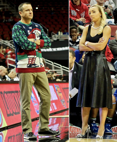The clash in sideline styles between Jeff Walz and Tennessee State coach Jessica Kern (WDRB photos by Eric Crawford)