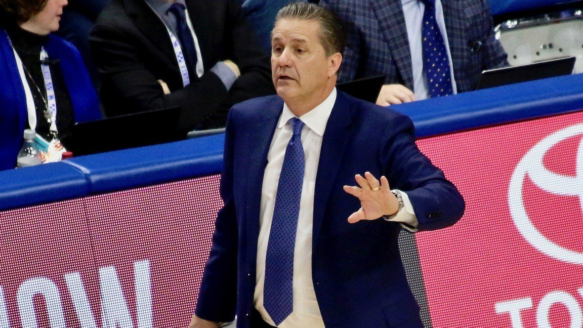 John Calipari directs his team during Saturday's 93-86 win over Virginia Tech (WDRB photo by Eric Crawford)