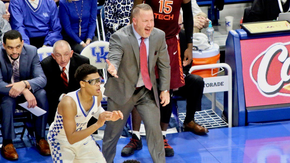 Virginia Tech coach Buzz Peterson wants someone to guard Kentucky's Quade Green. (WDRB photo by Eric Crawford)