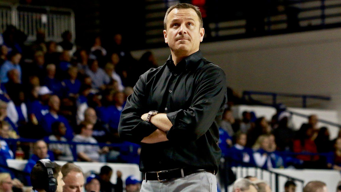 Louisville coach Jeff Walz won for the first time in Kentucky's Memorial Coliseum (WDRB photo by Eric Crawford)