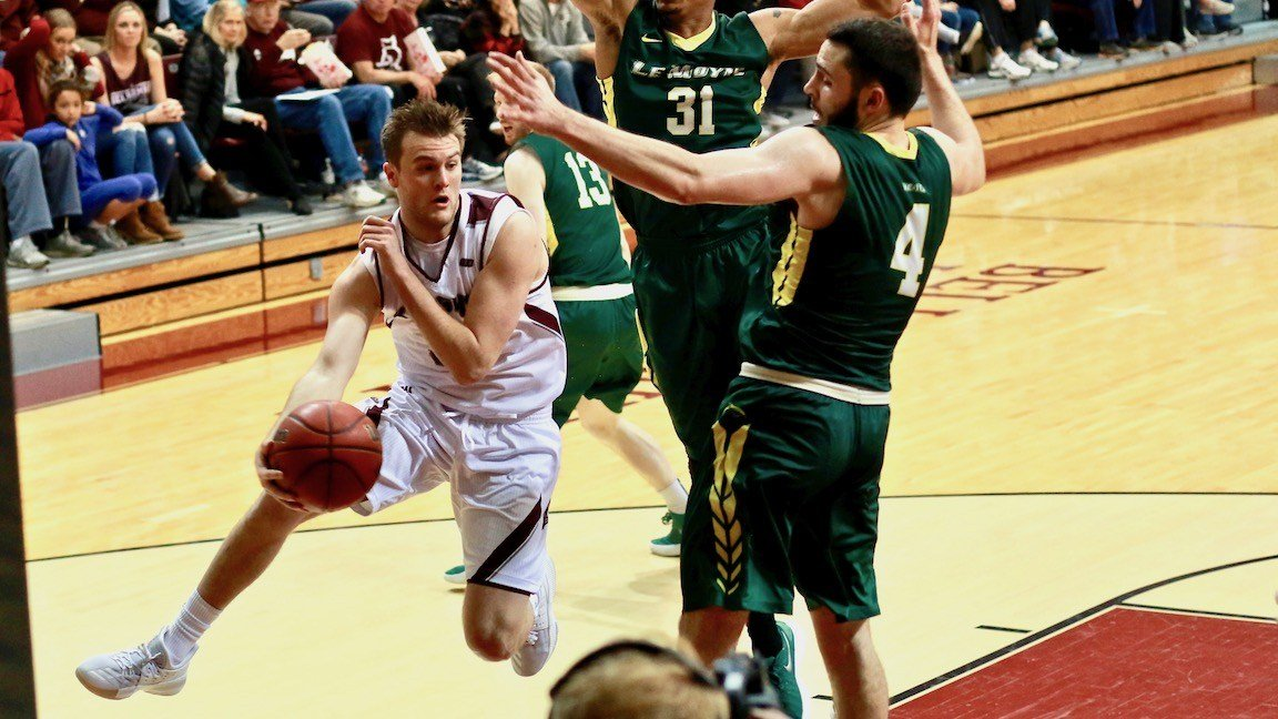 Bellarmine's Parker Chitty executes a wrap-around pass in Monday's win over Le Moyne. (WDRB photo by Eric Crawford)