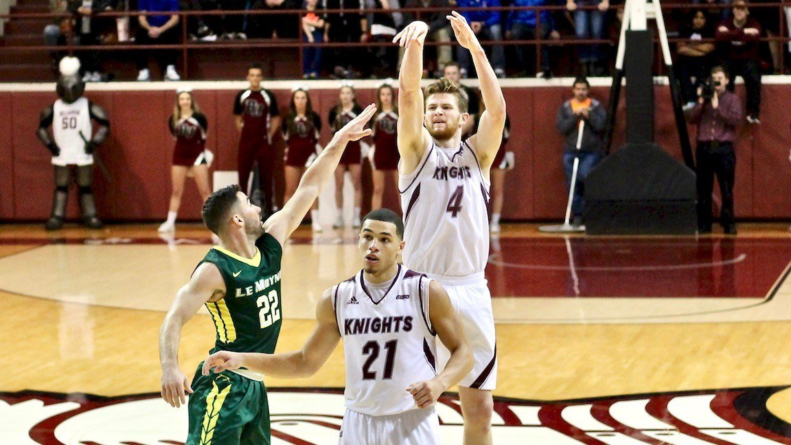 Bellarmine's Ben Weyer his one of his four three-pointers in a 14-point effort against Le Moyne. (WDRB photo by Eric Crawford)