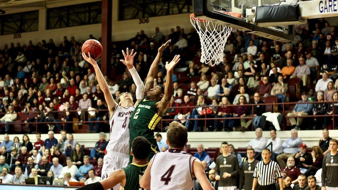 Bellarmine's Adam Eberhard goes up for what will eventually be a basket and a three-point play. (WDRB photo by Eric Crawford)