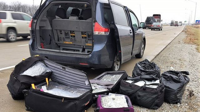 Police decided to search this minivan after an Indiana trooper smelled marijuana and fabric sheets during a traffic stop.