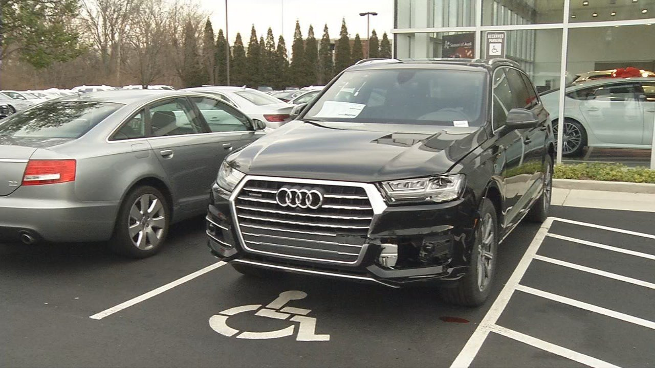 A man crashed his pickup truck into this $71K Audi after following a woman into the lot on Dec. 19, 2017.