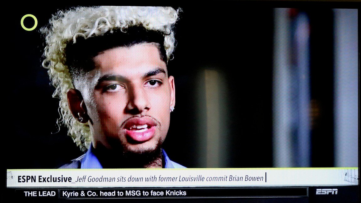 Brian Bowen speaks with ESPN's Jeff Goodman on ESPN's outside the lines. (WDRB photo by Eric Crawford)