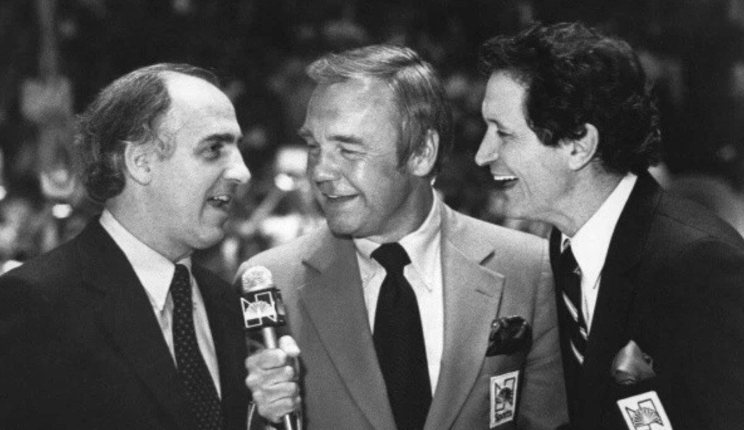 Billy Packer (from left), Dick Enberg and Al McGuire helped transform college basketball into a national game.