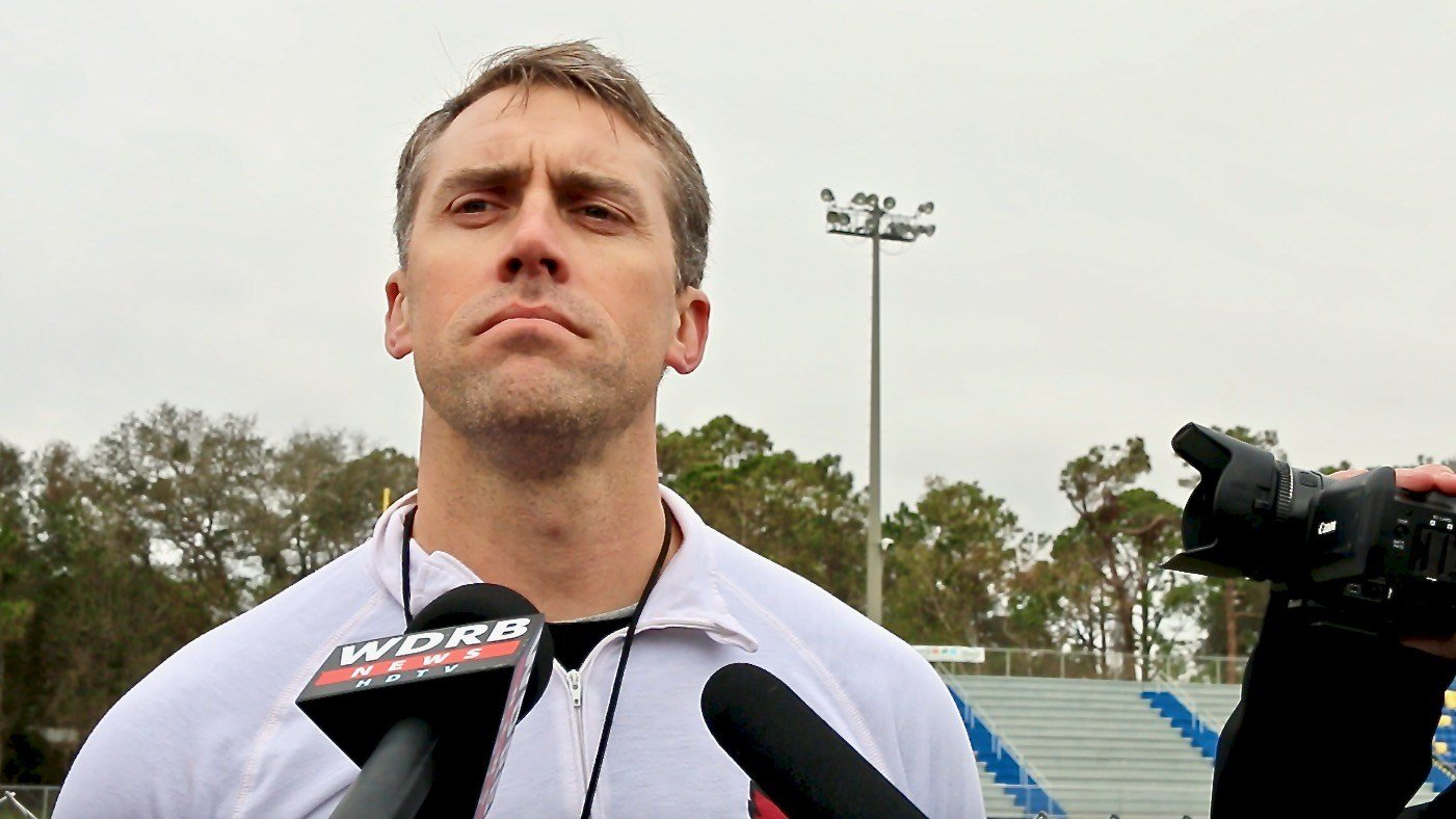 Louisville defensive coordinator Peter Sirmon spoke with reporters on Wednesday. (WDRB photo by Eric Crawford)
