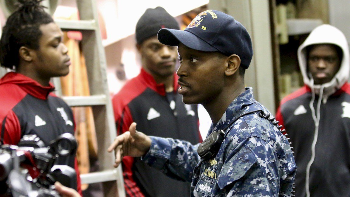 Louisville players learn about life on a Navy destroyer (WDRB photo by Eric Crawford)