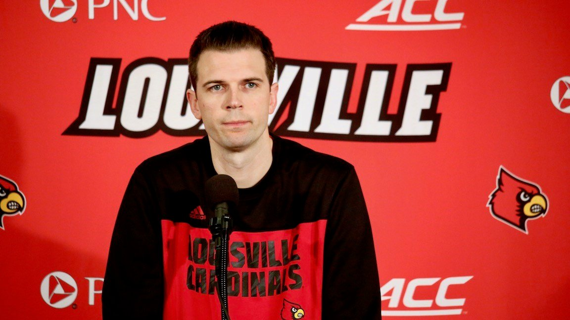 Louisville coach David Padgett speaks with reporters on Monday, Jan. 1 (WDRB photo by Eric Crawford)