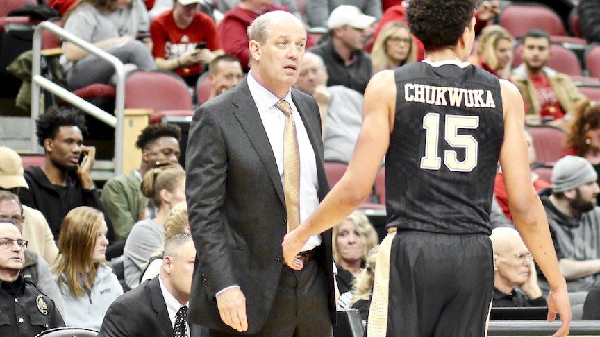 "Kevin Stallings made headlines by screaming ""At least we don't pay our players $100,000"" to a heckling Louisville fan during a Cardinals win Tuesday night. (WDRB photo by Eric Crawford)"