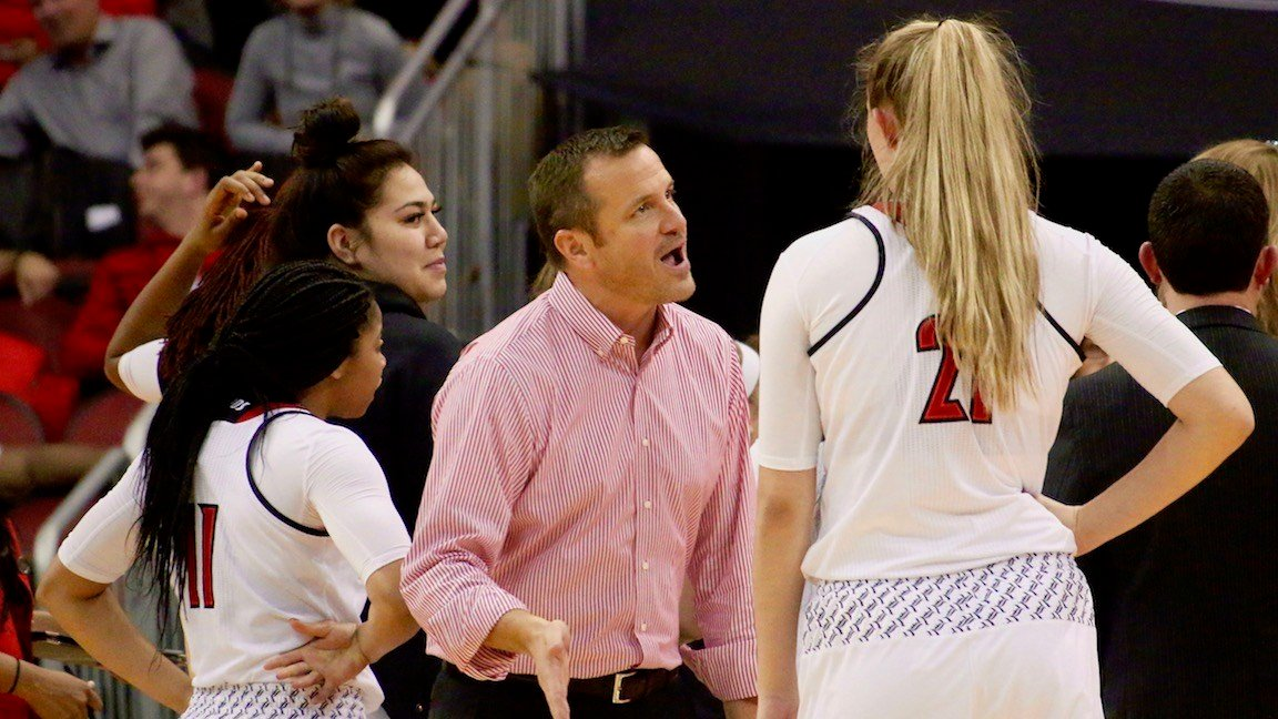 Louisville coach Jeff Walz talks to Kylie Shook before entering a timeout huddle in Thursday's win over Duke (WDRB photo by Eric Crawford)
