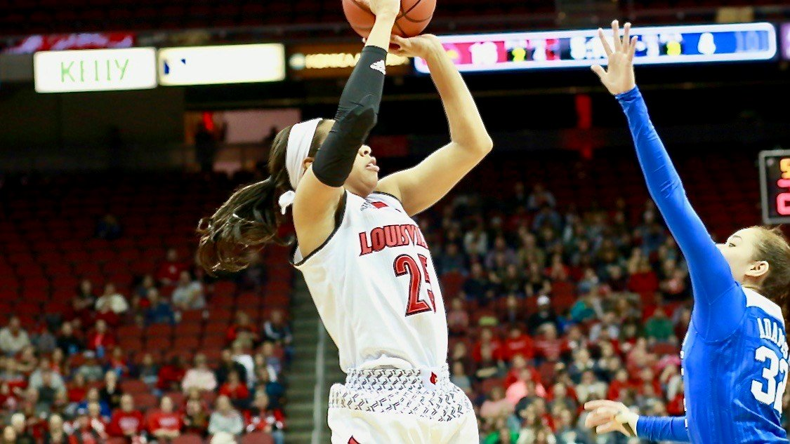 Asia Durr goes up for two of her team-high 22 points in Thursday's win over Duke (WDRB photo by Eric Crawford)
