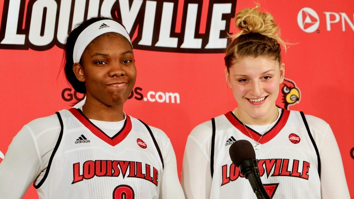 Myisha Hines-Allen and Sam Fuehring meet the media after Thursday's win over Duke (WDRB photo by Eric Crawford)