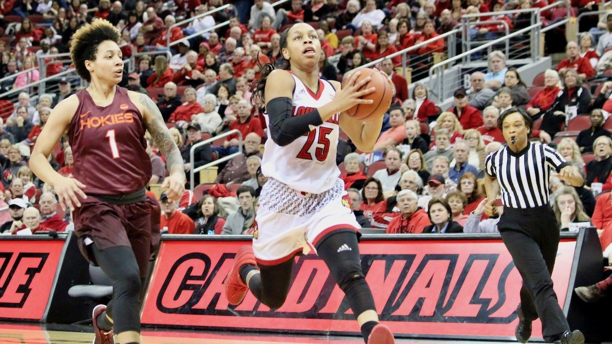 Asia Durr drives for two of her game-high 21 points (WDRB photo by Eric Crawford)