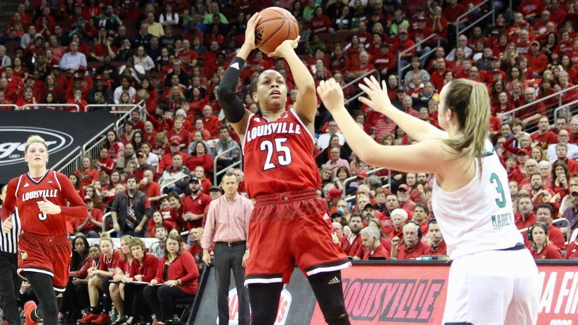 Asia Durr scores two of her game-high 36 points. (WDRB photo by Eric Crawford)
