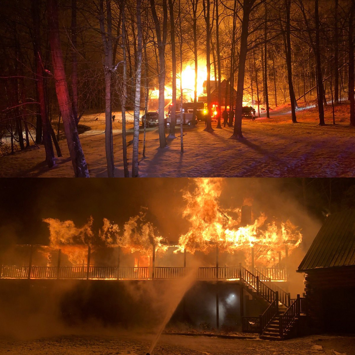 Flames burn through a home on Big Country Road East in Bullitt County, Saturday, Jan. 13, 2018. Shepherdsville Fire Dept. photos via Twitter.