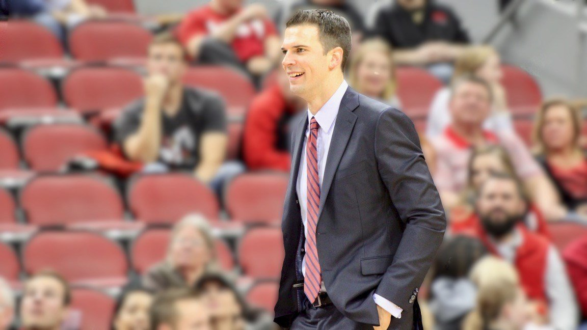 Louisville interim coach David Padgett. (WDRB photo by Eric Crawford)