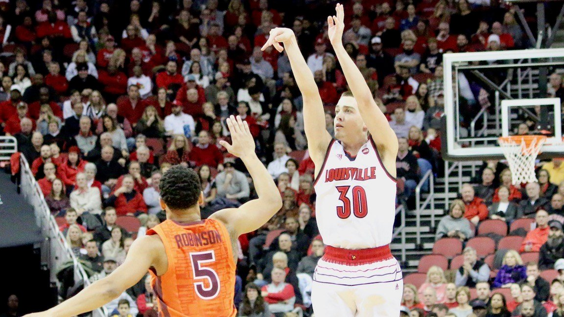 Ryan McMahon buries a first-half three-pointer. (WDRB photo by Eric Crawford)