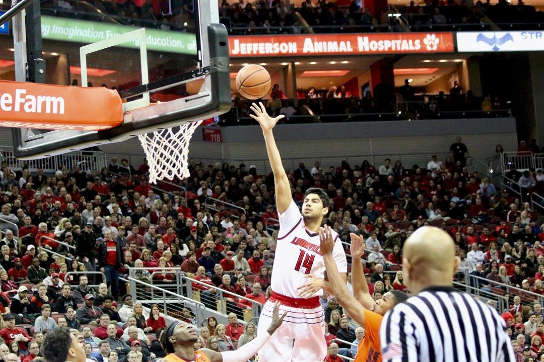 Anas Mahmoud scores in the post. (WDRB photo by Eric Crawford)
