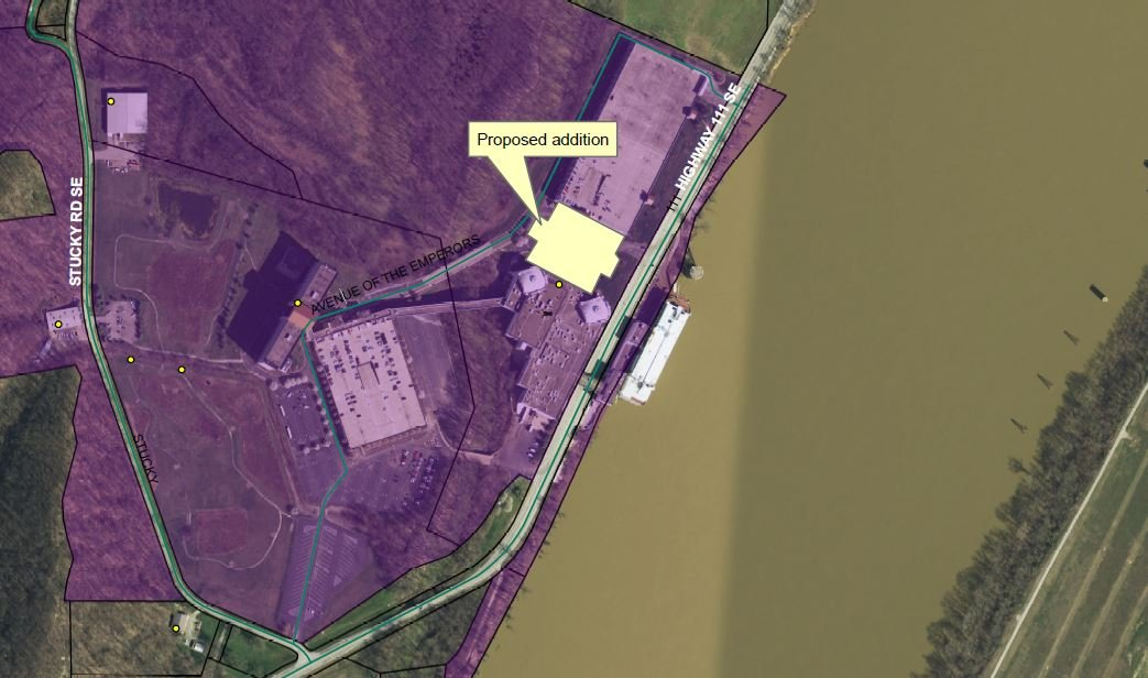 Aerial view depicting the placement of a land-based addition to Horseshoe Casino.