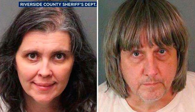 (Riverside County Sheriff's Department via AP). These Sunday, Jan. 14, 2018, photos provided by the Riverside County Sheriff's Department show Louise Anna Turpin, left, and David Allen Turpin.