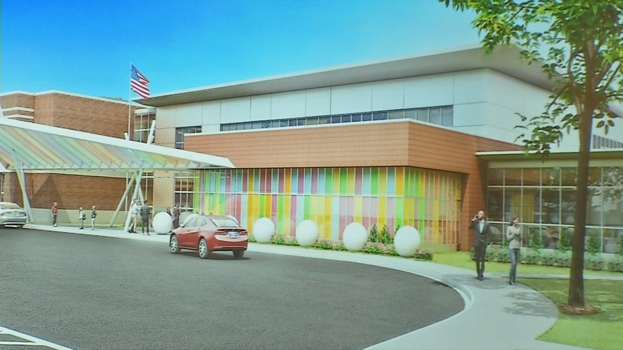 Rendering of proposed new school in downtown Jeffersonville.