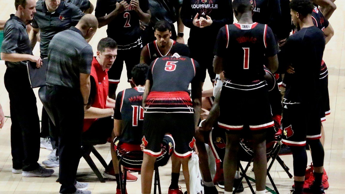 David Padgett talks to his team during a second-half timeout (WDRB photo by Eric Crawford)