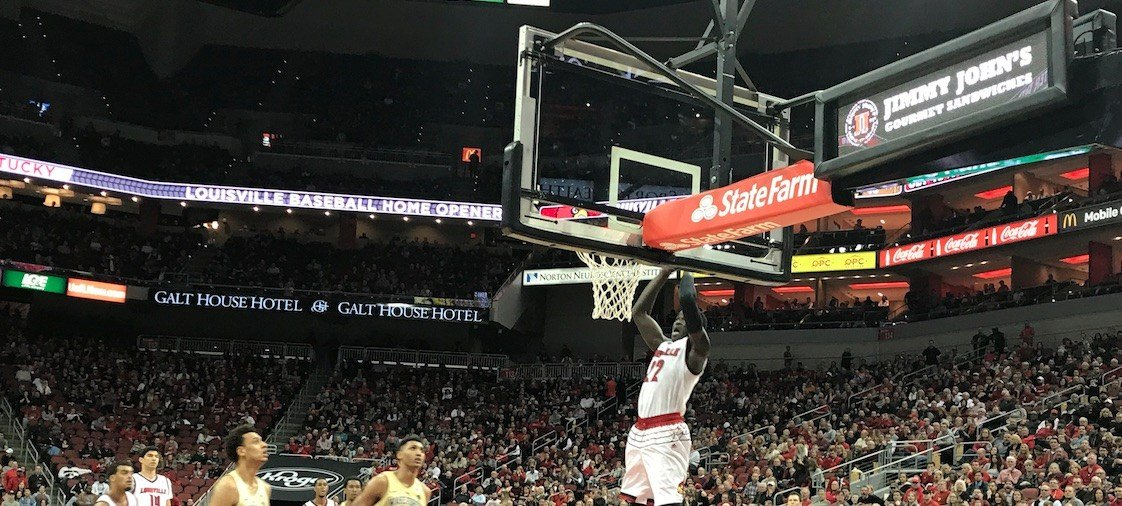 Deng Adel soared for this second-half slam as Louisville defeated Wake Forest Saturday night.