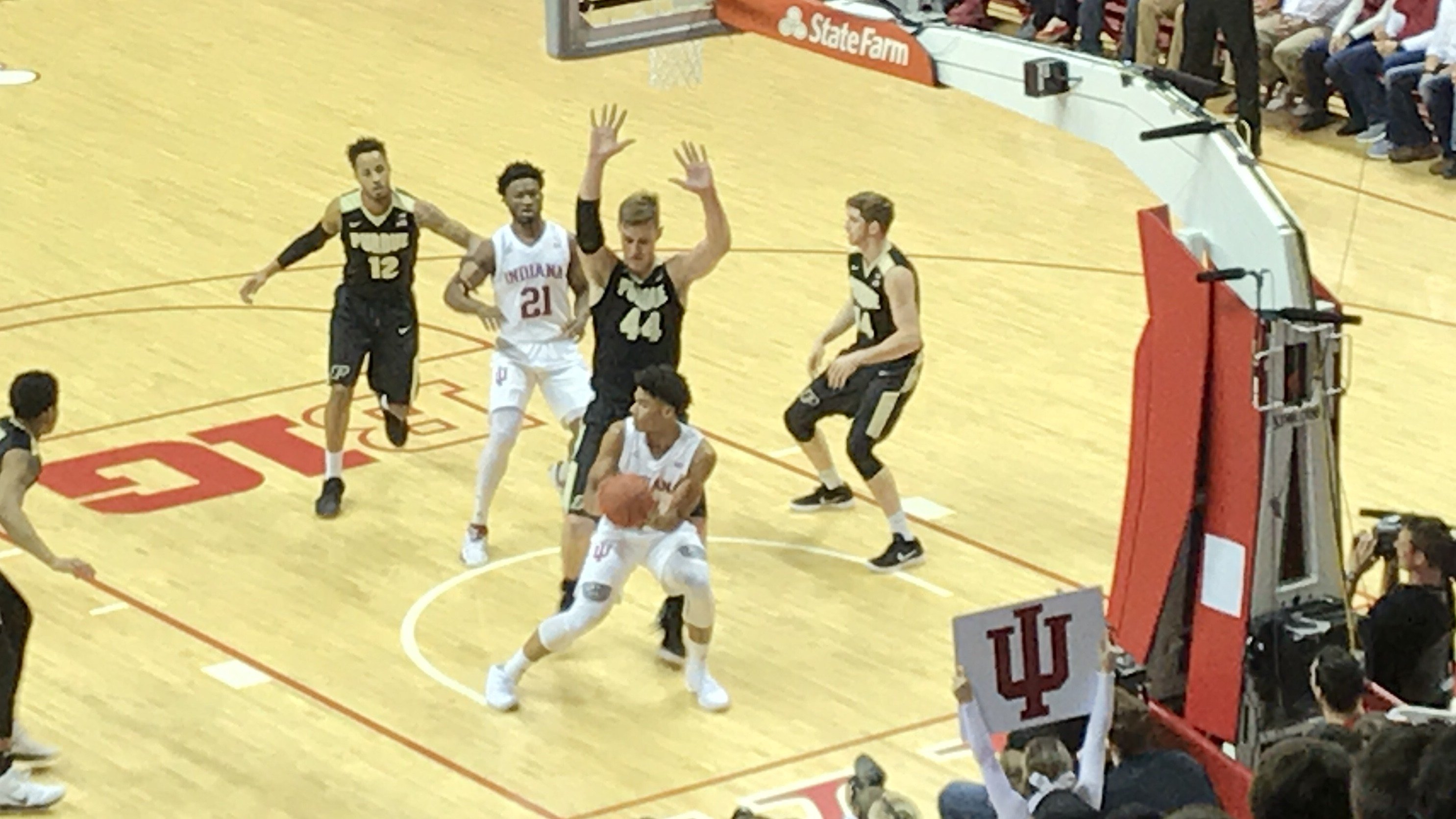 Led by mammoth Isaac Haas (44), Purdue was too big for Indiana Sunday in Bloomington.