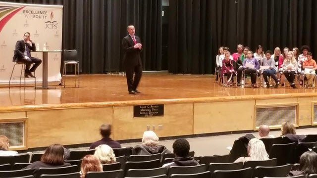 JCPS superintendent candidates Marty Pollio and Mike Raisor answered students' questions during a forum on Jan. 29, 2018.