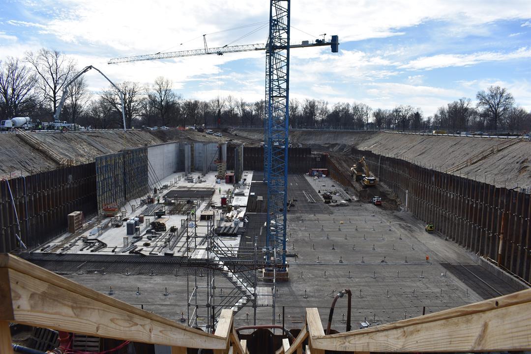 Construction on a $76 million, 20-million-gallon Shawnee Park Basin