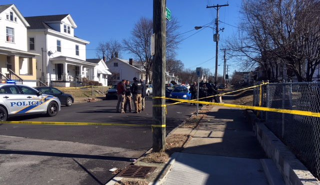 One woman was shot on Grand Avenue in Louisville Friday afternoon.